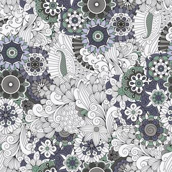 Flores e redemoinhos padrão decorativo