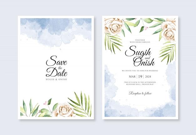Flores e salpicos pintados à mão em aquarela para um modelo de cartão de convite de casamento