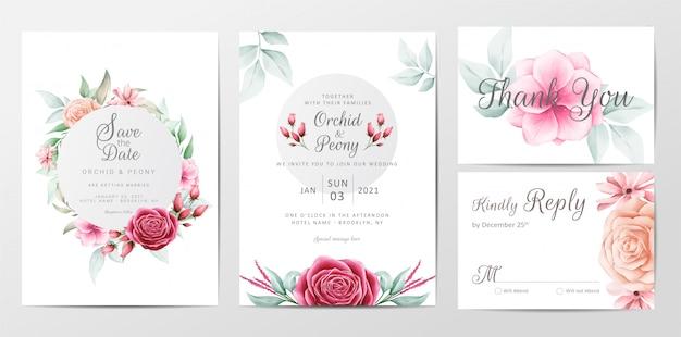 Flores elegantes cartão de convite de casamento conjunto de modelo
