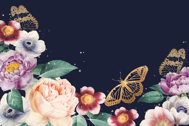 Flores elegantes do dia dos namorados com moldura azul aquarela