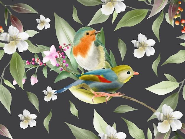 Flores elegantes e aquarela de pássaro sem costura padrão