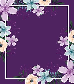 Flores em aquarela banner com fundo roxo