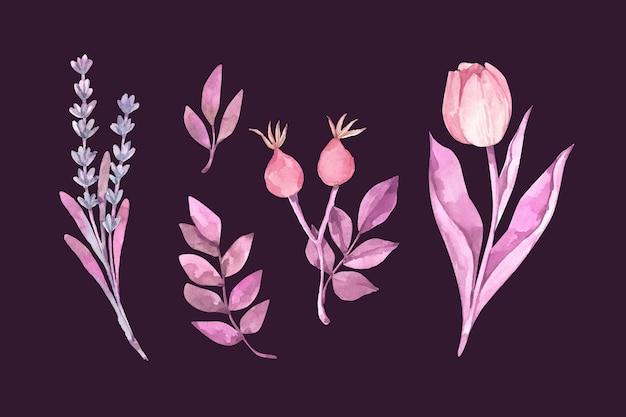 Flores em aquarela coloridas