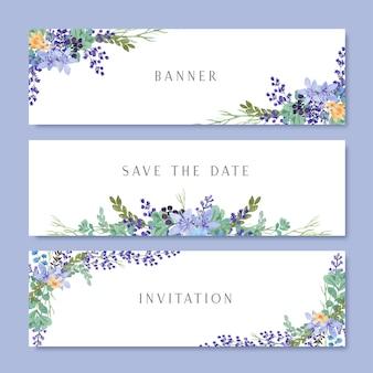 Flores em aquarela com banner de texto