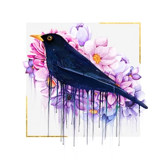 Flores em aquarela com pássaro preto