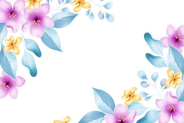 Flores em aquarela de fundo em tons pastel