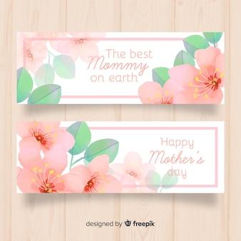 Flores em aquarela dia das mães banner