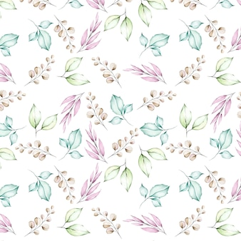 Flores em aquarela e folhas padrão sem emenda