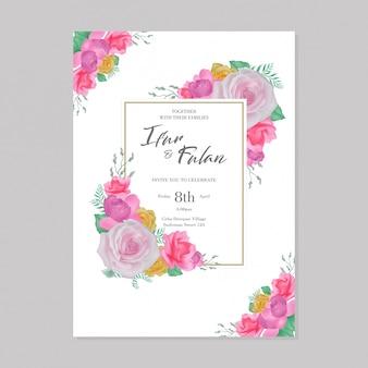 Flores em aquarela moldura de convites de casamento