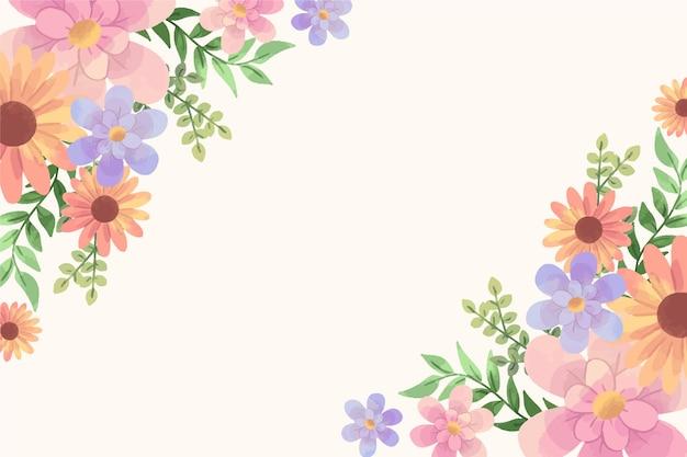 Flores em aquarela para tema de papel de parede em tons pastel