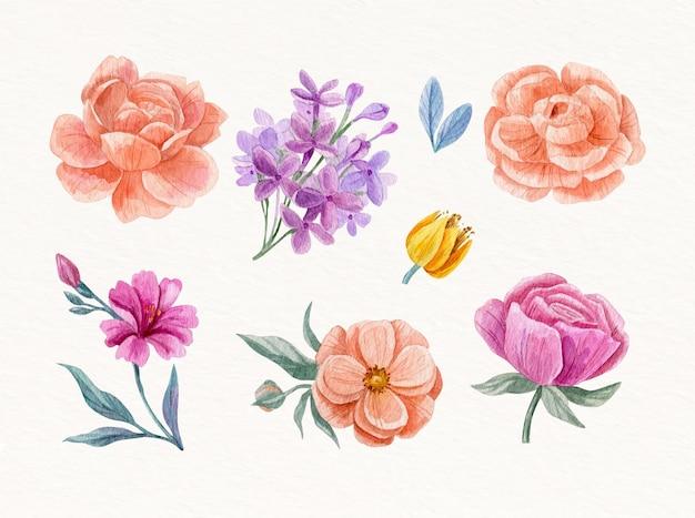 Flores em aquarela pintadas à mão