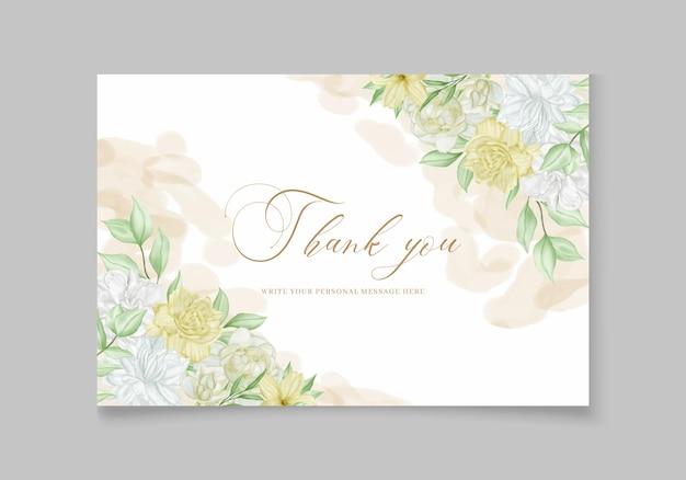 Flores em aquarela vintage em cartão de agradecimento de casamento