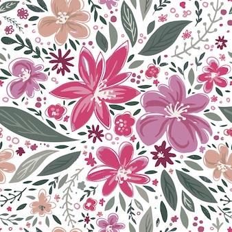 Flores em flor e folhagem em flor e botões
