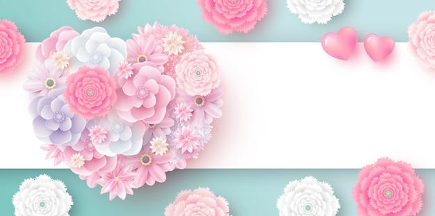 Flores em forma de coração com espaço de cópia
