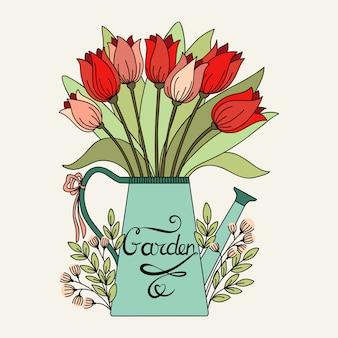 Flores em jarra