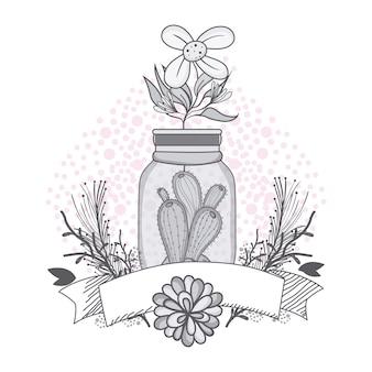 Flores, em, mason, jarro, com, fita, bandeira, desenho, desenho