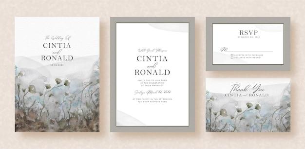 Flores em preto e branco da aquarela vista do jardim do cartão de convite de casamento