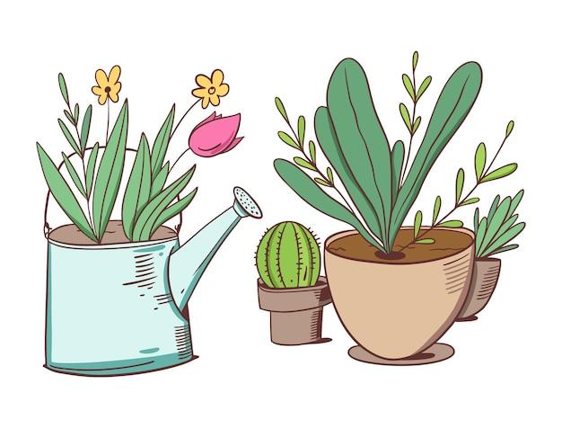 Flores em regador e plantas verdes em vasos caseiros. estilo de desenho animado.
