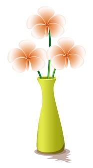 Flores em um vaso amarelo