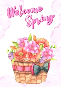 Flores em uma cesta de presentes. objeto de elementos de design de arte de flores rosa