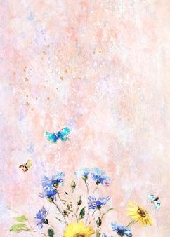Flores em uma tela pastel