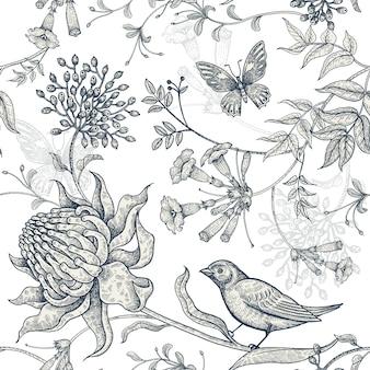 Flores exóticas, borboletas e pássaros.