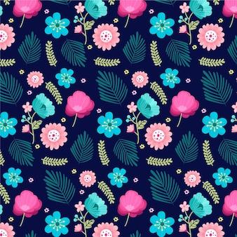 Flores exóticas pintadas e padrão de folhas