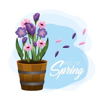 Flores exóticas plantas com folhas na primavera