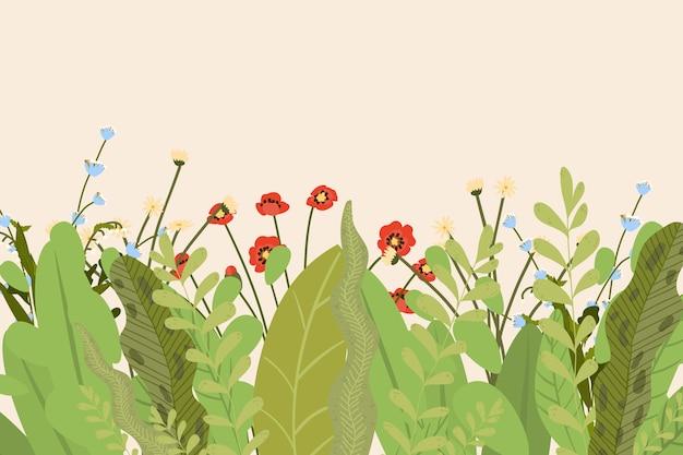 Flores, flor de verão, floral, fundo verde, lindo jardim, flora de beleza, ilustração. elemento de beleza natural, decoração de casa, ornamento criativo fofo.