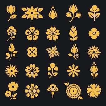 Flores, flor, e, folha, vetorial, silueta, ícones