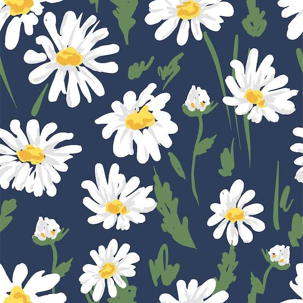 Flores fofas camomila seamless pattern