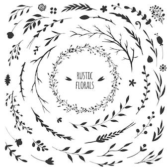 Flores, folhas de ervas e outros elementos florais isolados na coleção rústica branca