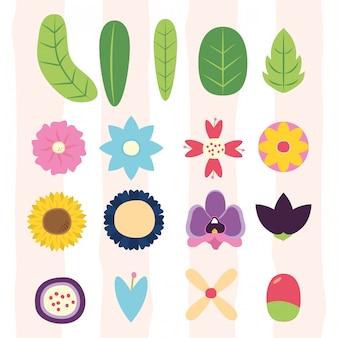 Flores folhas flora diferentes folhas, flores, flora ilustração