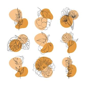 Flores, folhas, folhagem, frutas, ramo, vegetação, coleção, linha, com, cor especial, ilustração