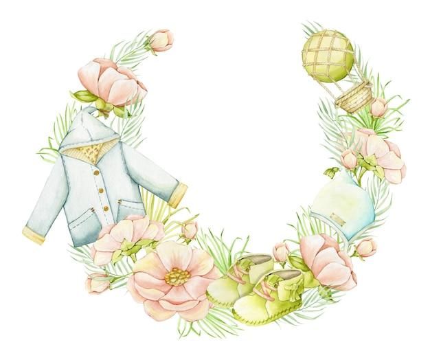 Flores, folhas, roupas, sapatos, brinquedos. concerto em aquarela no estilo boho, em forma de círculo.