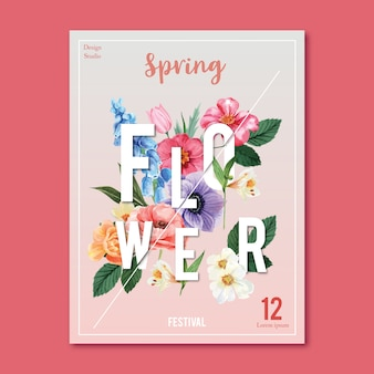 Flores frescas de cartaz de primavera