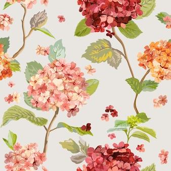 Flores hortensia padrão sem emenda