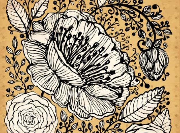 Flores ilustração retro