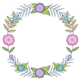 Flores isoladas ornamento fundo de grinalda