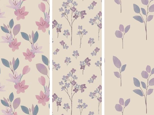 Flores lilás e conjunto de padrões sem emenda de hortaliças