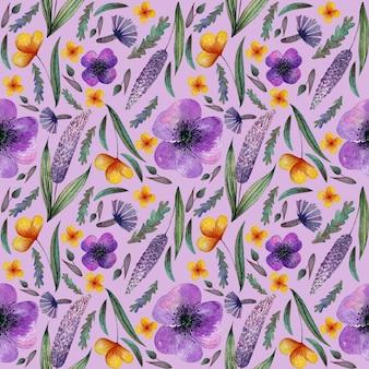 Flores lilás em aquarela sem costura padrão