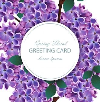 Flores lilás lindo cartão redondo
