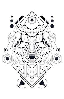 Flores lobo geometria sagrada premium