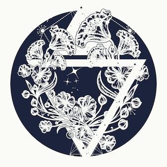 Flores mágicas em um triângulo