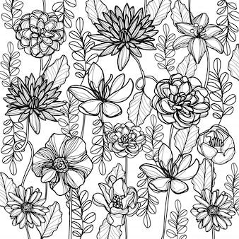Flores mão desenho e desenho preto e branco