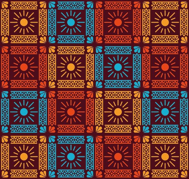 Flores mexicanas e design de plano de fundo padrão de sol.