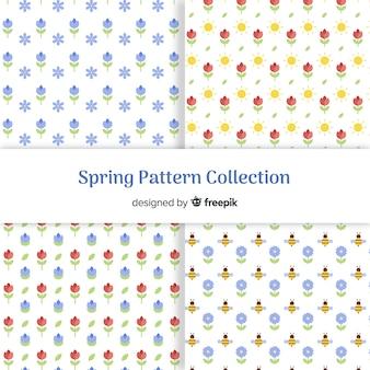 Flores minúsculas coleção padrão de primavera