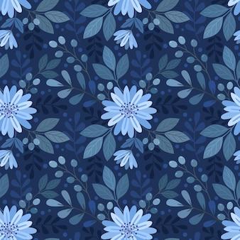 Flores monocromáticas azuis e folha padrão sem emenda.