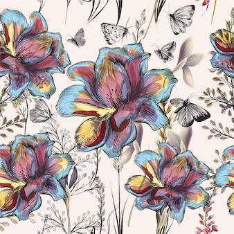 Flores multicoloridas desenhadas à mão
