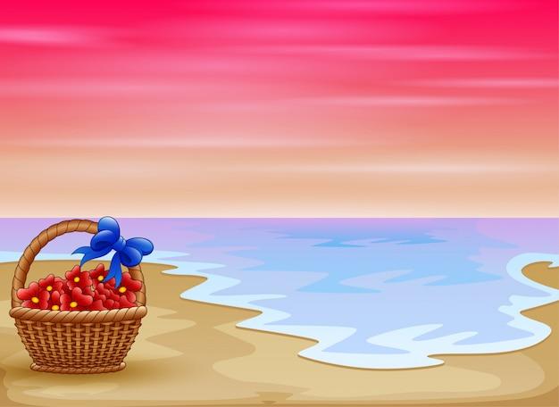 Flores na cesta com vista para praia tropical